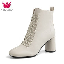 INS HOT Women Ankle Boots Genuine Leather Feet Length for Round Toe Chelsea High Heel 2019 Autumn New