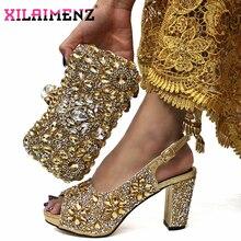 黄金色イタリアデザインのイタリア女性の靴とバッグセットナイジェリアの女性のマッチングの靴とバッグとシャイニングクリスタル