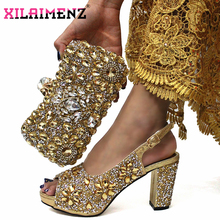 Golden Color Italian Design Italian Women Shoes and Bag Set Nigerian Ladies Matching Shoes and Bag with Shinning Crystal