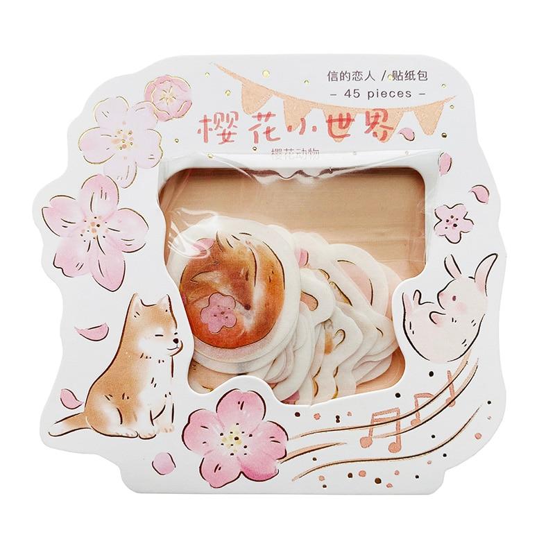 45pcs/Bag Pink Sakura & Animals Gold Foil Paper Stickers Washi Sticker Hand Account Decor