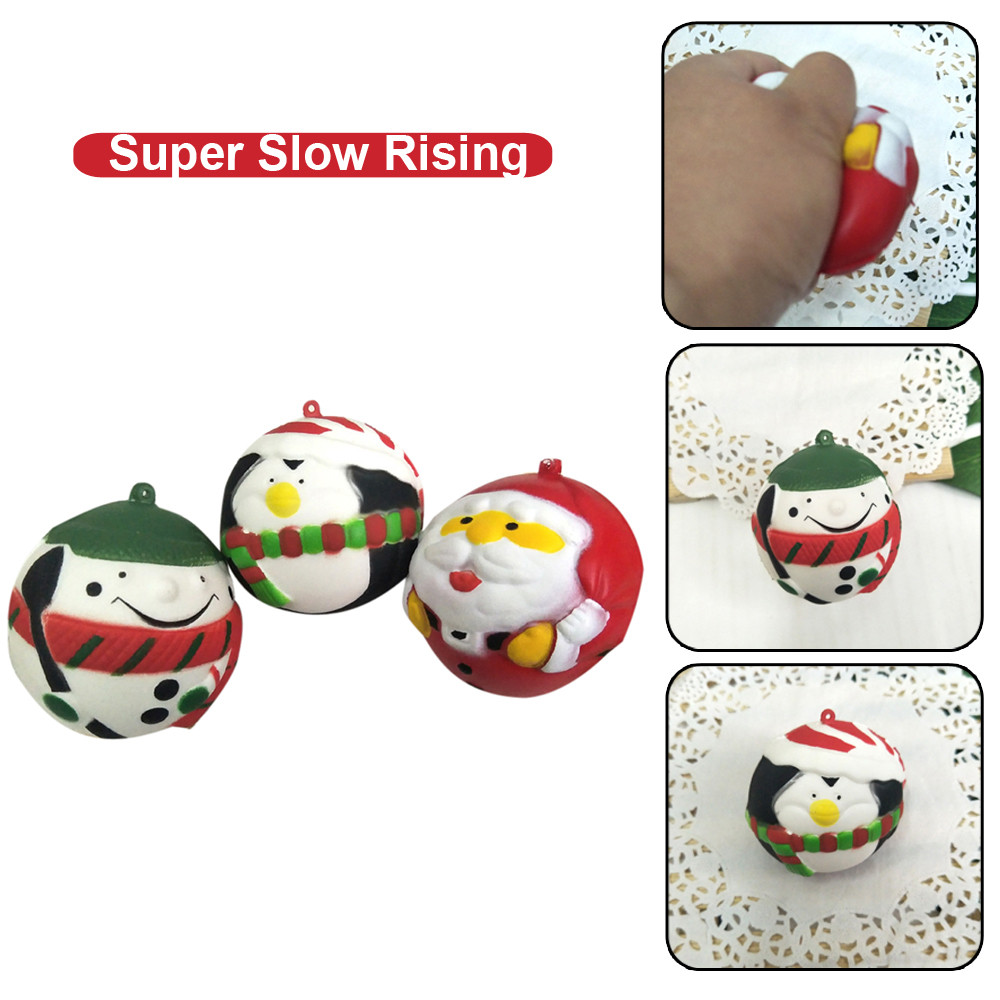 Christmas Ball Decompression Toy For Children Kawaii Christmas Balls Slow Rising Cream Scented Stress Relief Toys L0110