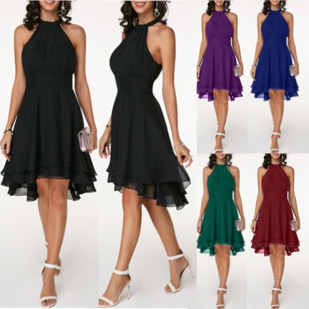 Ms Large Size Sleeveless Solid Color Soft Halter Sleeveless Asymmetric Hem Chiffon Dress (S-5XL)