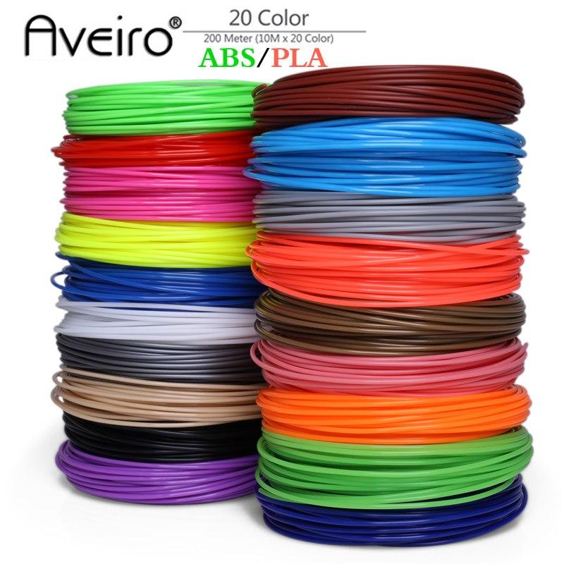 Original 20Pieces/lot 3D Printer Filament 5M/10 Meter/pcs 20 Colors 1.75mm PLA ABS 3D Print Filament For 3D Printer Or 3D Pen