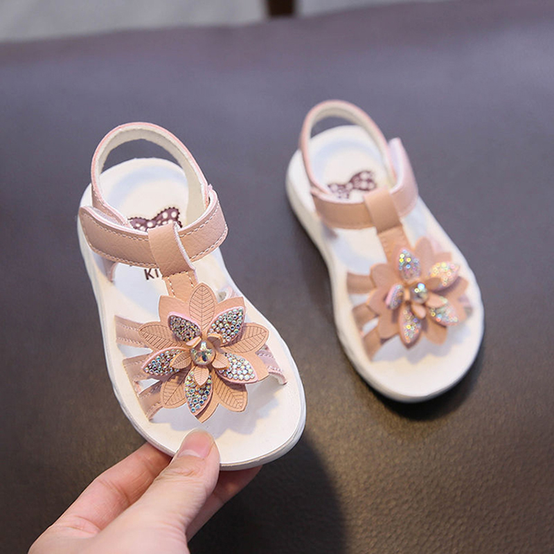 Summer Children Toddler Baby Girls White Pink Sandals For Little Girls School Flower Beach Sandals New 2020 2 3 4 5 6 Years Old