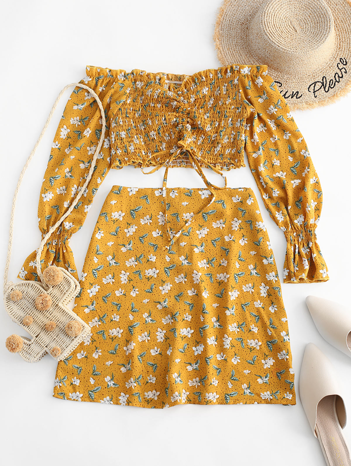 ZAFUL Floral Smocked Cinched Ruffle Cuff Two Piece Set Off Shoulder Shirred Tie Top And Skirt Set Girls Zipper Fly Women's Sets