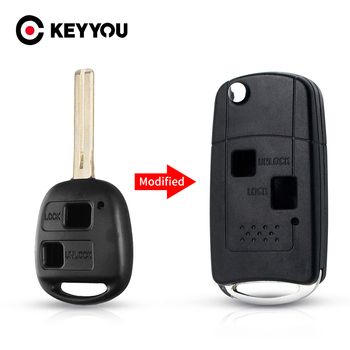 KEYYOU Car Flip 2/3 Buttons Key Shell Modified For LEXUS IS GS ES LS RX IS200 RX300 Fob TOY40 46mm Blade Remote Blank Case image
