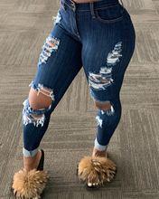 Women's Korean Slim Fit Jeans Fashion Solid Color Ripped Hole Tassel Stretch Mid-waist Denim Pencil Long Pants Trousers