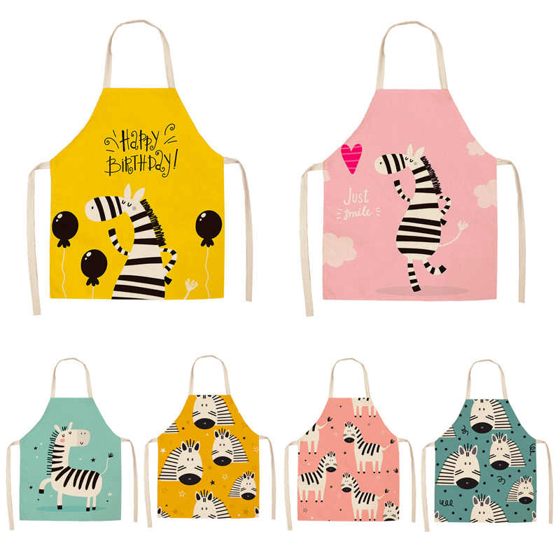 Parent-child Kitchen Apron Funny Cartoon Zebra Printed Sleeveless Cotton Linen Aprons for Men Women Home Cleaning Tools