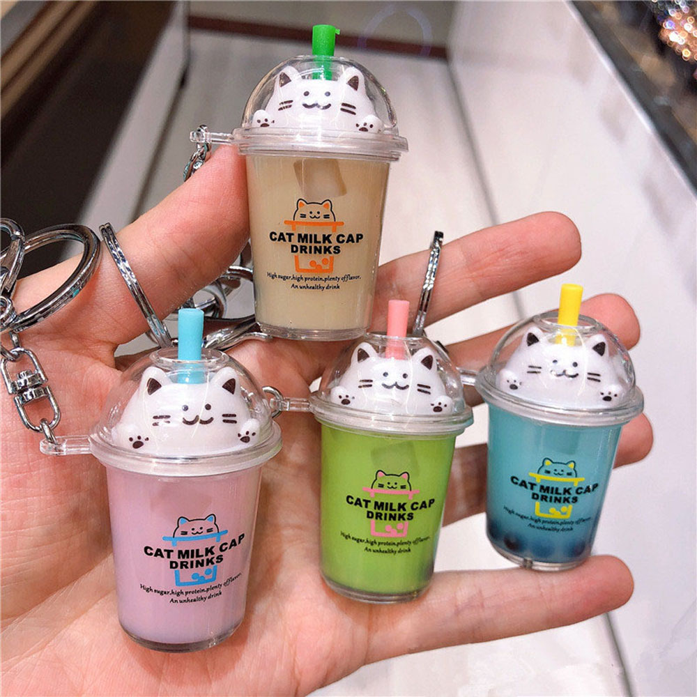 Cartoon Cute Cat Car Keychain Creative Milk Tea Cup Liquid Crystal Quicksand Sequin Key Ring Bag Pendant For Women Bag Key Chain