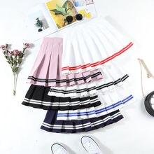 Four Colors High Waist A-Line Women Skirt Striped Stitching Sailor Pleated Skirt Elastic Waist Sweet Girls Dance Skirt A-line