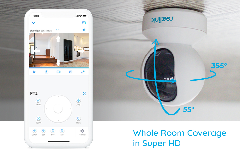 Reolink 3MP Indoor IP Wifi Camera with Pan & Tilt 2-Way Audio and SD Card Slot  E1 4