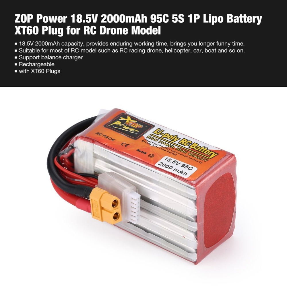 Original Rechargeable ZOP Power 14.8V/ 18.5V 2000mAh 4S 65C Lipo Battery XT60 Plug For Charging Quadcopter Helicopter Parts