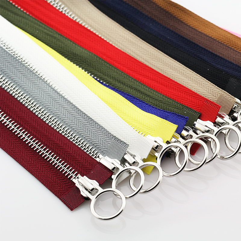 5# 60/70/80/90/100/120/150 cm Platinum Double Circle Sliders Auto Lock Zipper