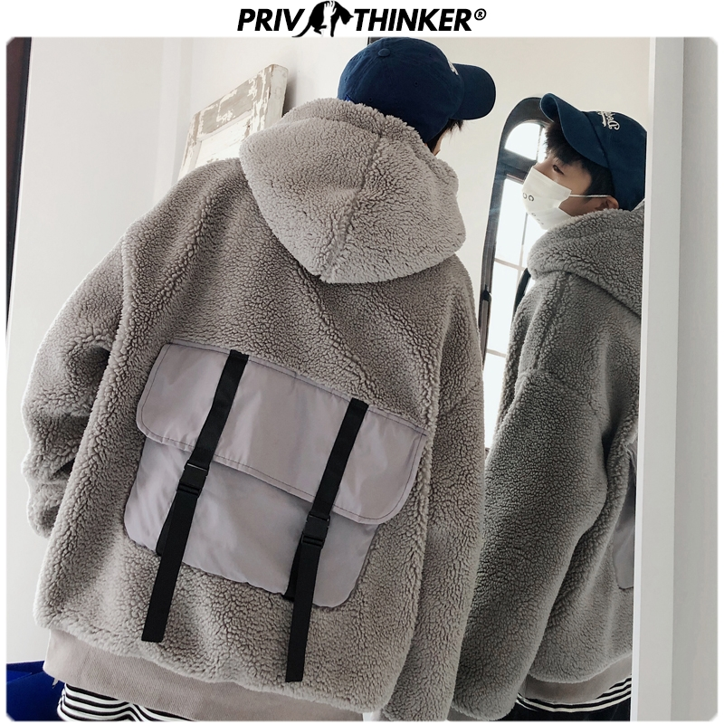 Privathinker Men Thickening 2019 Winter New Lamb Fur Tide Hooded Sweatshirts Male Collage Warm Fashion Hoodies Mens Korean Tops