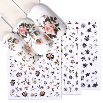 Flower Series Nail Water Decal Stickers Sakura Daisy Lavender Floral Pattern Transfer Sticker  Nail Art Decoration 1