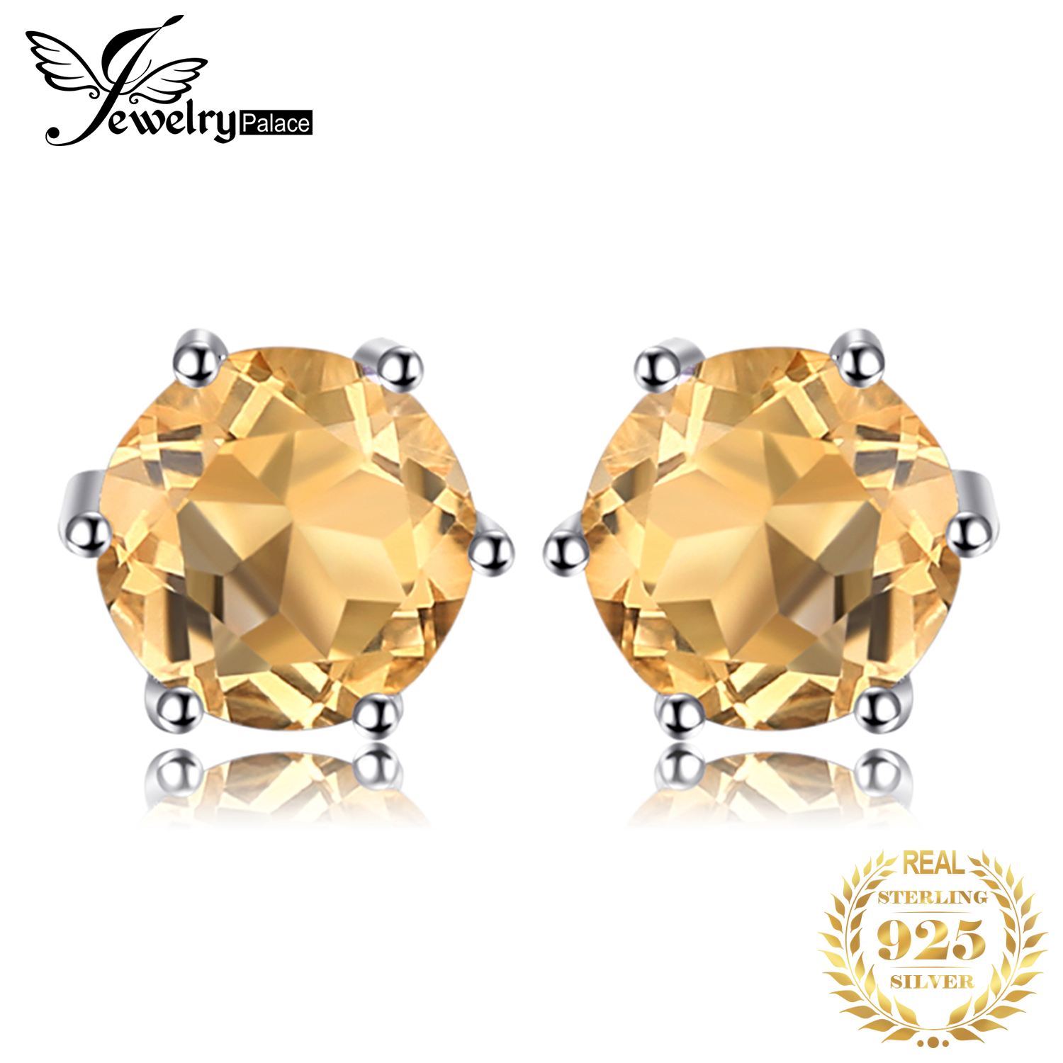 Jewelrypalace Stud-Earrings Citrine Gemstone 925-Sterling-Silver Women Natural Solid