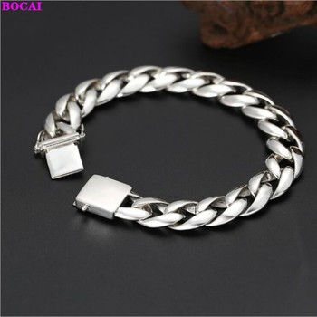 BOCAI 100% real s925 sterling silver bracelet for Man 2020 new fashion Thai silver  simple individual wild thick men's bracelet