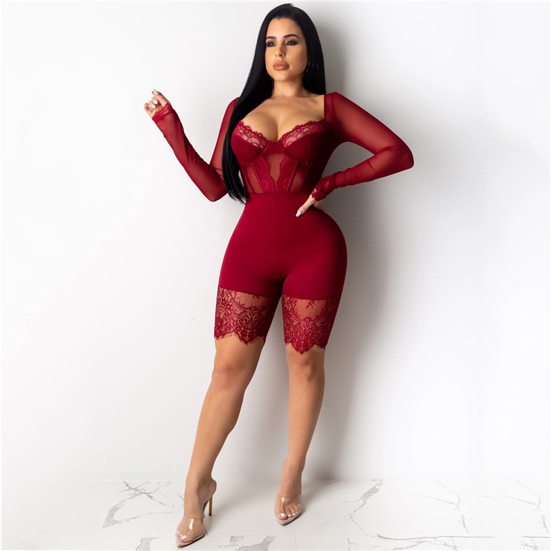 H45edbe18ca5d42eda5186073a497a5025 - WUHE Lace Patchwork Sexy Spaghetti Strap Jumpsuits Women Off Shoulder Sleeveless Elegant Bodycon Bandage Party Short Playsuits
