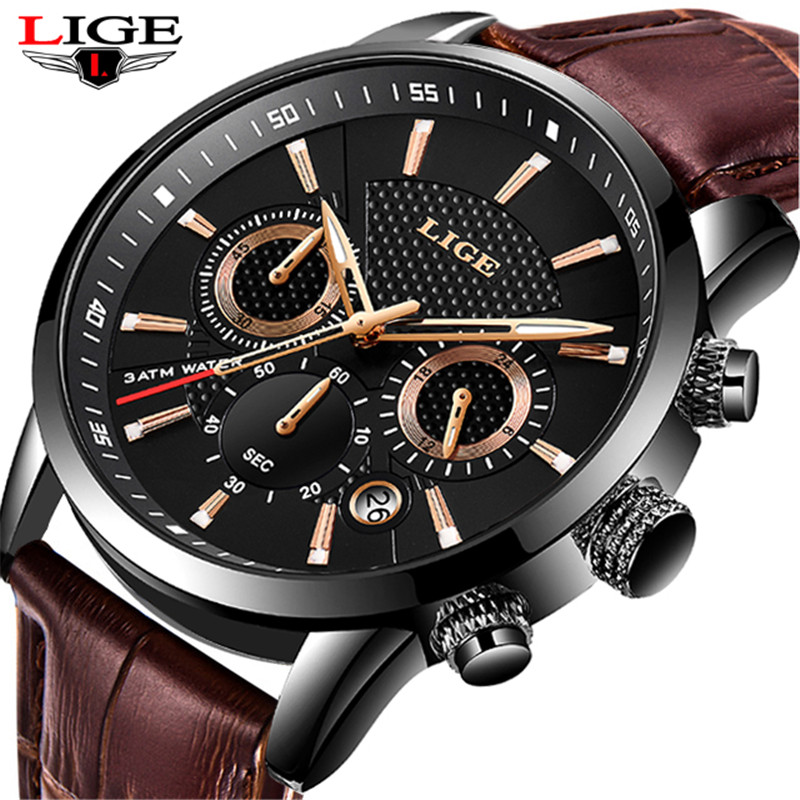 LIGE 2020 New Watch Men Fashion Sport Quartz Clock Mens Watches Brand Luxury Leather Business Waterproof Watch Relogio Masculino