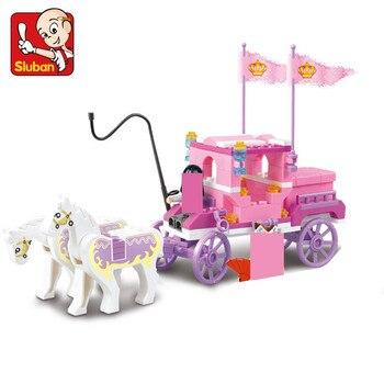 цены 137Pcs Girl Princess Royal Carriage Wagon Model Building Blocks Sets Horse Castle Figures Bricks Friends Educational Toys Girls