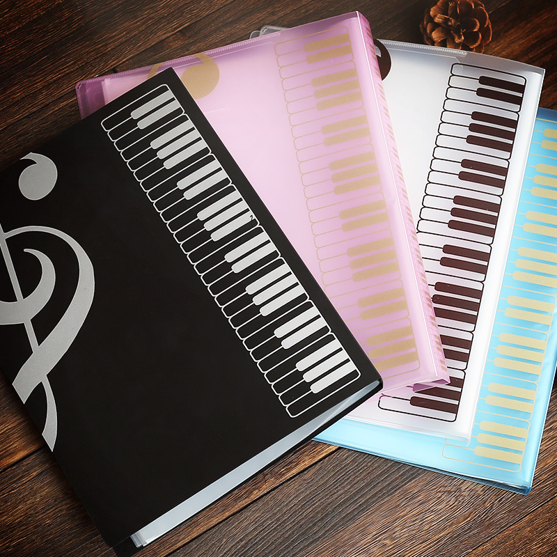 80 Pages A4 Piano Paper Sheets Document File Organizer Folder Five-line Clip Music Score