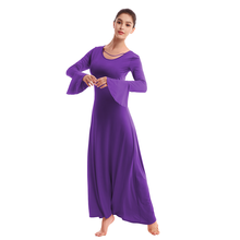 Praise Dance Dress for Adult Girls Women Bell Sleeve Pleated Swing Long Sress Church Liturgical Worship dress