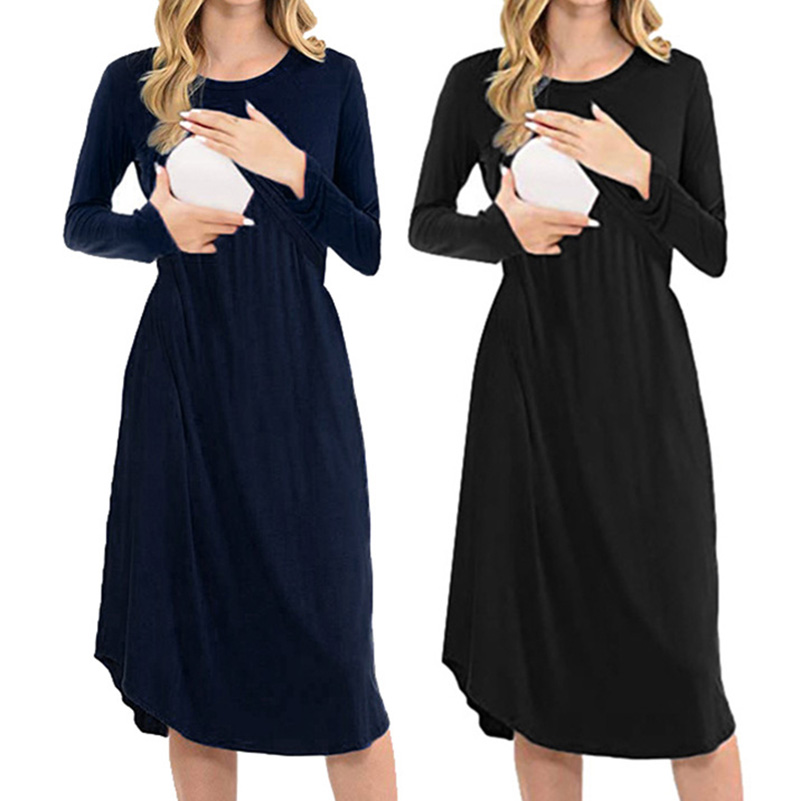 Autumn Winter New Pure Lactation Maternal Dress Long-sleeved O-collar Receiving Waist Dresses Nursing Pregnancy Casual Clothes