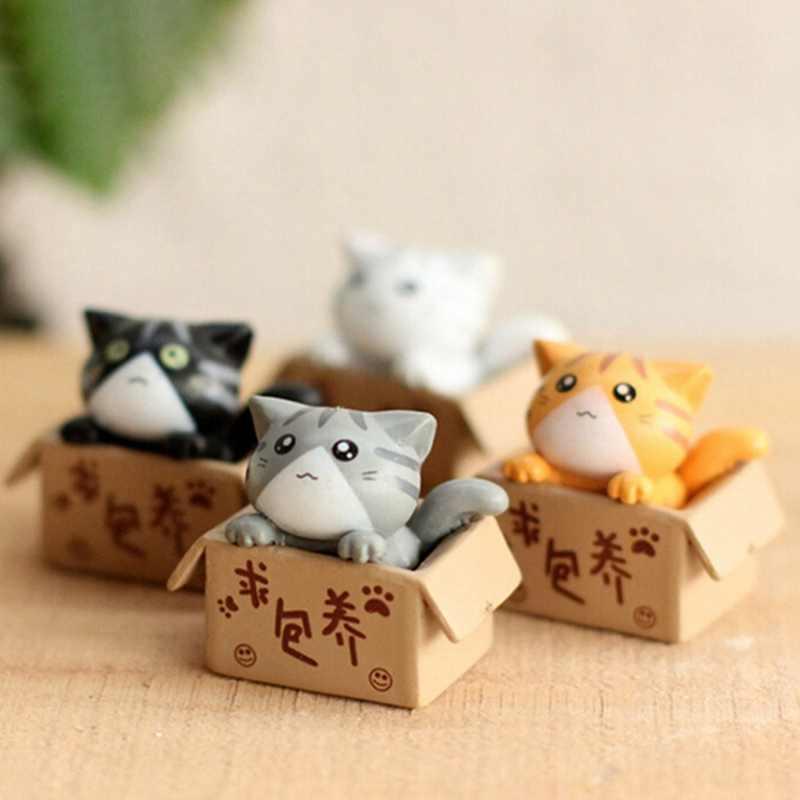 1 חתיכה קריקטורה עני תיבת חתול קיטי חתלתול דגם קטן פסל רכב צלמית אמנות גן דמות קישוט DIY מיניאטורות