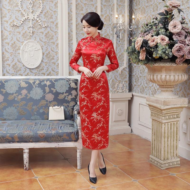 New Style E0013 Cheongsam Long Brocade Daily Life High Slit Cheongsam Costume Performance Chinese Costume Wholesale