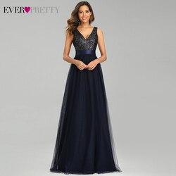 Темно-синие вечерние платья Ever Pretty EP00648NB, с блестками, а-силуэта, с двойным треугольным вырезом, без рукавов, из тюля, элегантные вечерние пла...