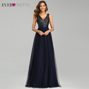 Navy Blue Evening Dresses Ever Pretty EP00648NB Sequined A-Line Double V-Neck Sleeveless Tulle Elegant Gowns Vestidos - discount item  35% OFF Special Occasion Dresses