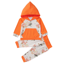 лучшая цена Baby Girls Long Sleeve Floral Hoodie Sweatshirt Tops with Pocket  +Pants Outfit Kids Toddler Infant Fall Winter Clothes Set D20