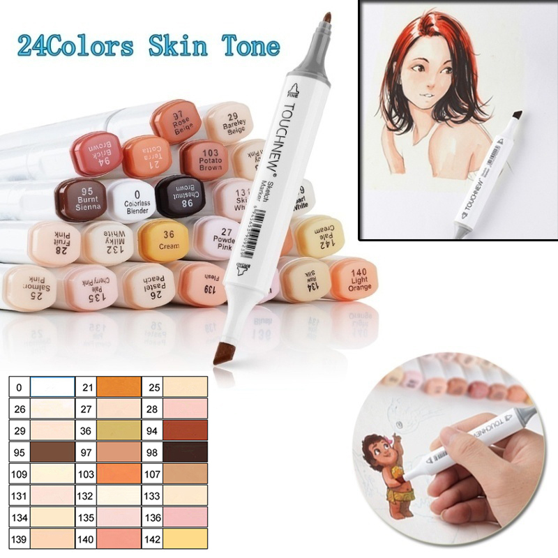 TOUCHNEW 12/24 Colors Marker Pens Blendable Skin Color Art Markers Brush Marker For Art Manga Drawing Pen Skin Tone Pen