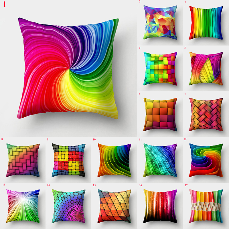 45*45cm Rainbow Pillow Cases Decorative Pillow Cover Colorful Soft Pillowslip Home Supplies Sofa Throw Pillowcase Cushion Cover