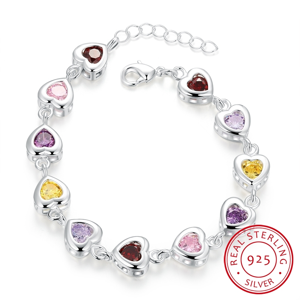 Sweet Fashion Bracelet Jewelry New Women 925 Sterling Silver Heart Colorful Zirconia Bracelet Engagement Party Christmas Gift