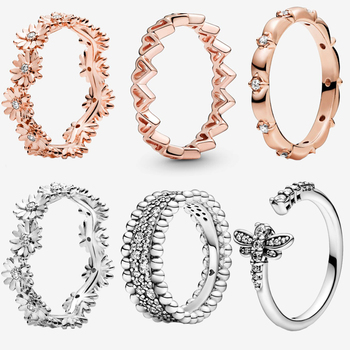 2020 New Arrival S925 Sterling Silver 50 types Sparkling Daisy Flower Crown Rings  for Women Engagement Jewelry Anniversary