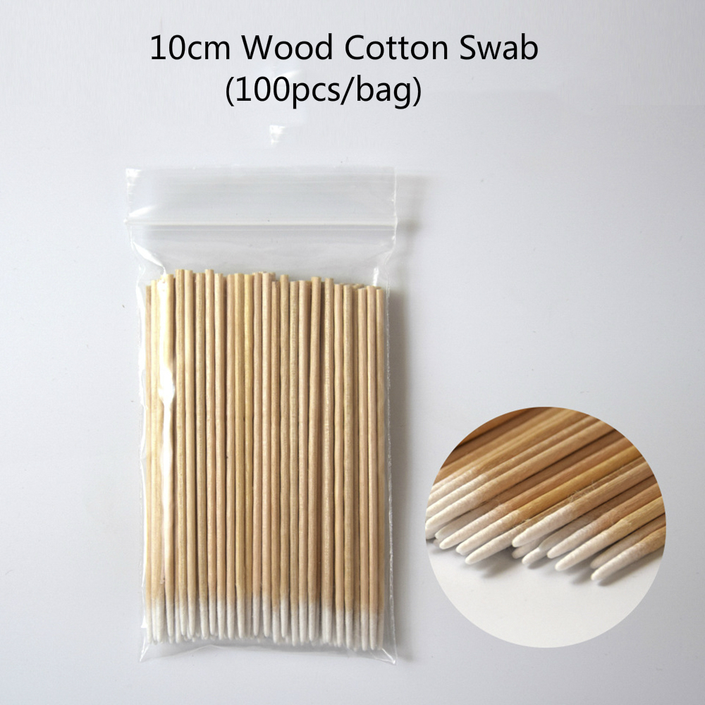 100pcs/bag 10cm Wood Cotton Swab Eyelash Extension Tool tattoo Medical Ear Care Wood Sticks Cosmetic Cotton Swab Cotton Buds Tip