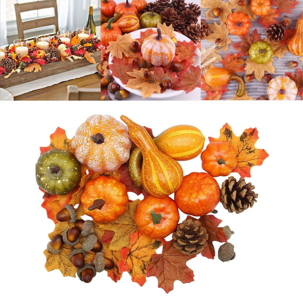 50PCS Thanksgiving Simulation Pumpkin Acorn Autumn Fall Decoration Halloween Pumpkins Maple Leaf Fall Harvest Seasonal Decor