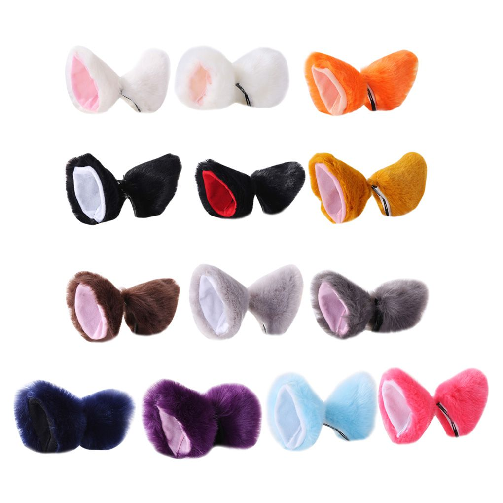 New Plush Cat Animal Ears Hairpins Lolita Fluffy Ear Cosplay Hair Clips Party Performance Costume Accessories