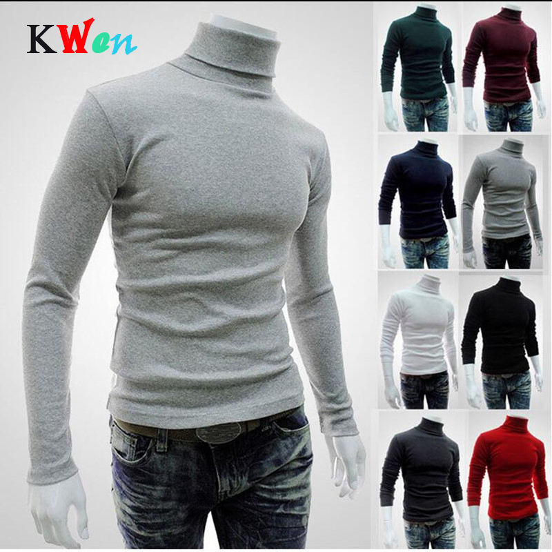 2018 New Autumn Winter Men'S Sweater 8 Color Men'S Turtleneck Solid Color Casual Sweater Men's Slim Fit Brand Knitted Pullovers