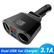 3.1A Double Car Cigarette Lighter Splitter Dual USB Socket Charger For 12V-24V Car SUV Truck Off-Road Vehicle And Minivan