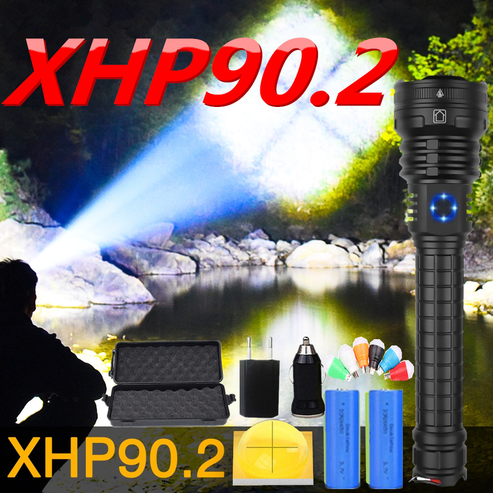 90000LM Super Bright Xhp90.2 Most Powerful Led Flashlight Torch Tactical Flashlights Zoom Usb Rechargeable 26650 Flash Light