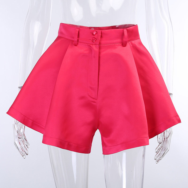 Viifaa Apricot High Waist Pleated Wide Leg Flared Shorts Women Fashion Summer Spring 2020 Ladies Sexy Mini Shorts 4