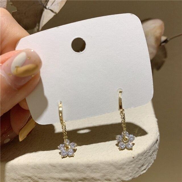 MENGJIQIAO Korean Elegant Zircon Flower Hoop Earrings For Women Girls Fashion Metal Chain Boucle D'oreille Oorbellen Jewelry 2