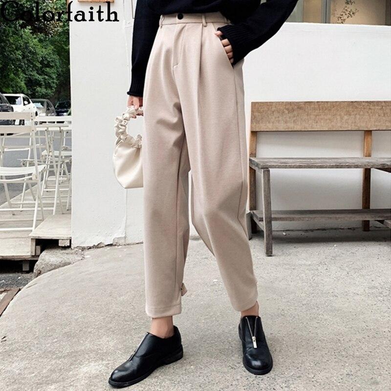 Colorfaith 2019 Autumn Winter Women Pants High Waist Wide Leg Casual Pockets Plus size Loose Woolen Warm Banana Trousers P7729