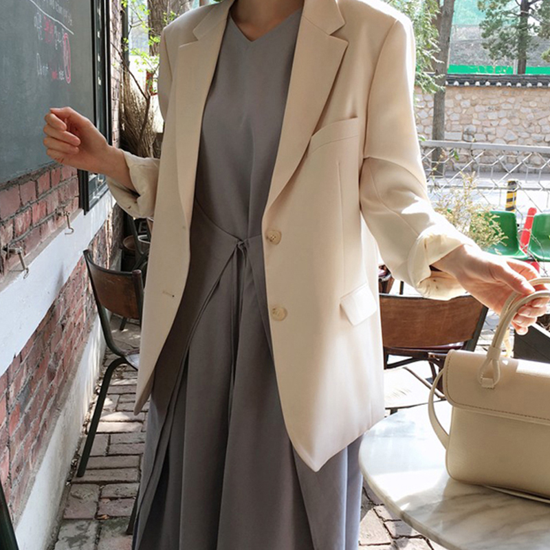 Spring Women's Jacket Casual Solid Double Breasted Notched Collar Long Sleeve Suits Outwear Ladies Blazer Coat Blazer Feminino