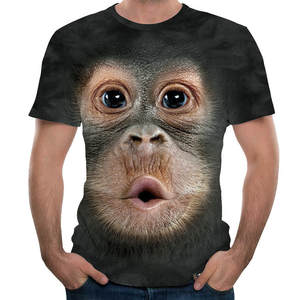 Monkey T-Shirt Short-Sleeve Orangutan O-Neck Summer Tops Animal-Print Novelty Black Plus-Size