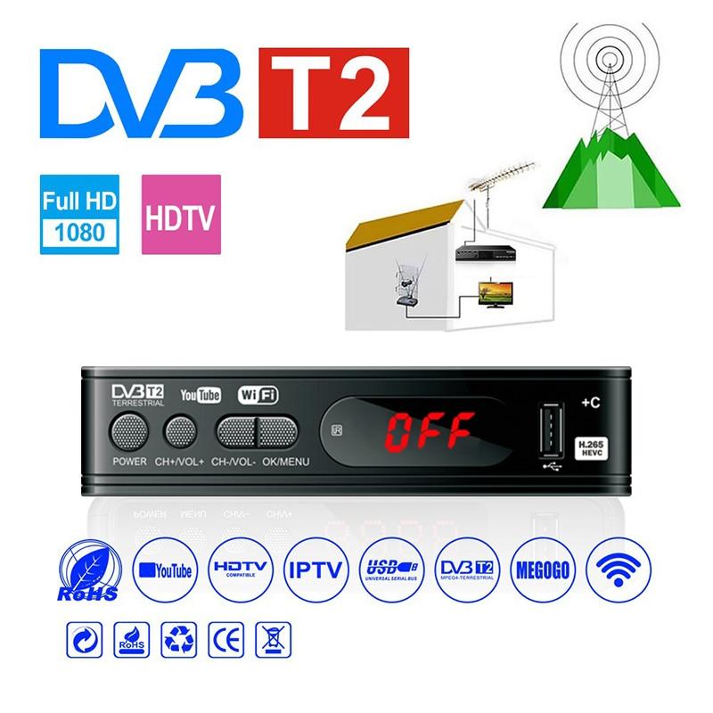 Full-HD1080P Dvb-t2 тюнер TV Box Dvb T2 Wi-Fi Usb2.0 HDMI-совместимая плата спутникового ТВ тюнер приемник Dvbt2 Встроенный Русский Руководство