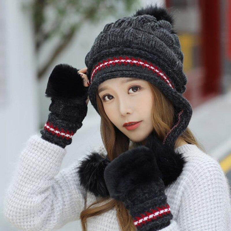 Women's Winter Hat+Gloves Set Knitted Thicken Warm Plus Velvet Beanie With Hair Ball Female Gloves 2 Pcs Suit For Ladies Girls