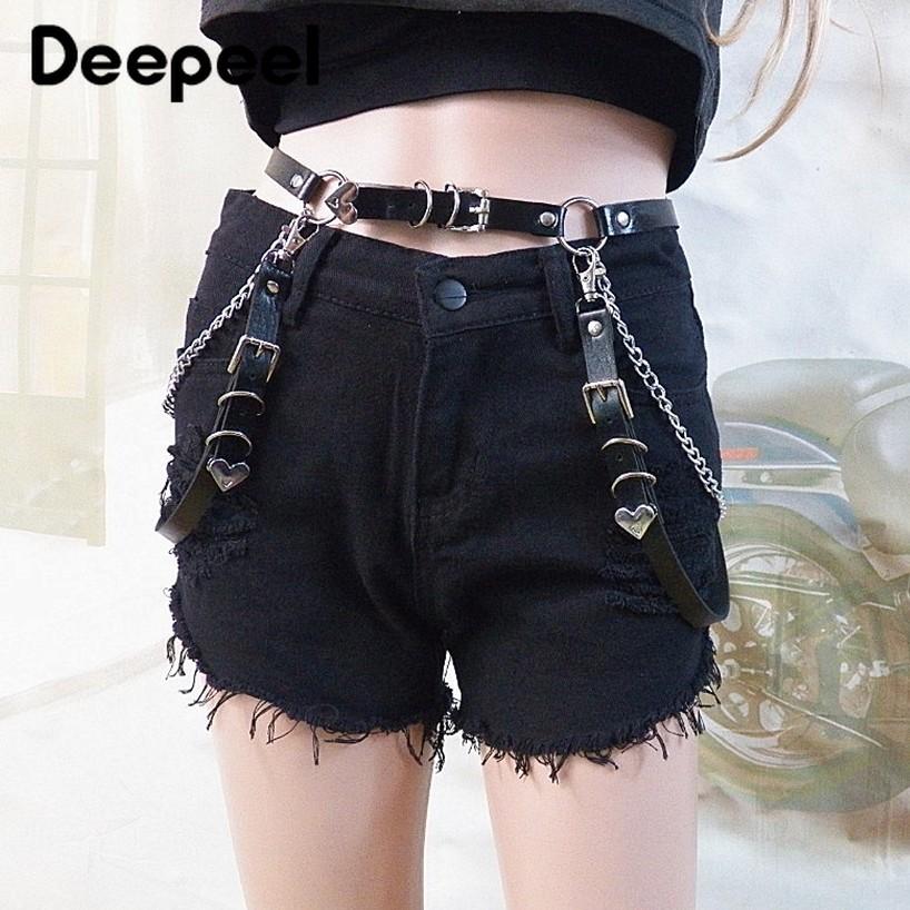 Deepeel 1pc 100cm-125cm Love Versatile Black Flow Waist Chain Nightclub Sexy Jewelry Casual Cummerbunds  With Jeans YK676